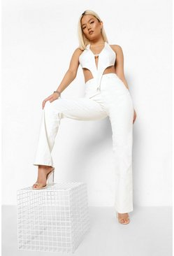 White Petite Coated High Waist Flared Jean