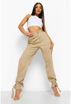 Taupe beige Petite Tie Ankle Straight Leg Jeans