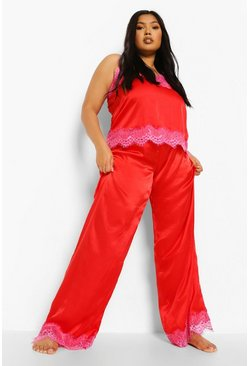 Red Plus Eyelash Trim Contrast Cami & Trouser Set