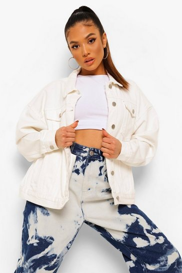 White Petite Oversized Denim Jacket
