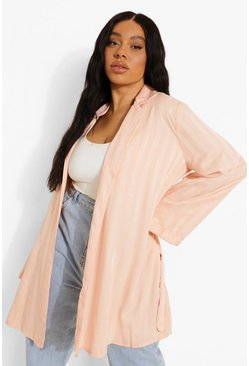 Rose gold metallic Plus Jacquard Stripe Satin Robe