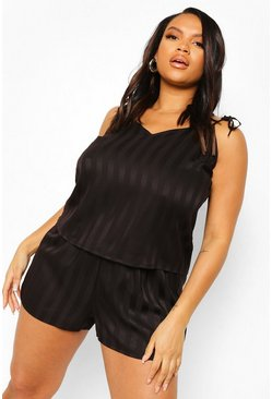 Black Plus Jacquard Stripe Cami & Short Set