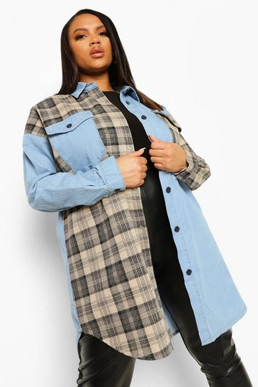 Light blue blue Plus Check Denim Over Shirt