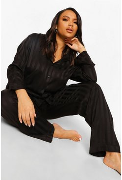 Black Plus Jacquard Stripe Satin Pyjamas