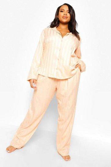 Rose gold metallic Plus Jacquard Stripe Satin Pyjamas