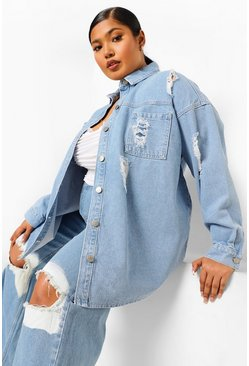Light blue blue Plus Distressed Oversized Denim Shirt