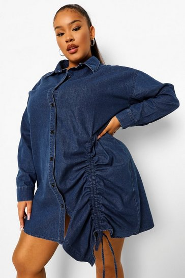 Mid blue blue Plus Ruched Denim Shirt Dress