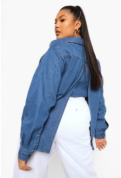 Mid blue blue Plus Oversized Spijkerblouse Met Rug Split