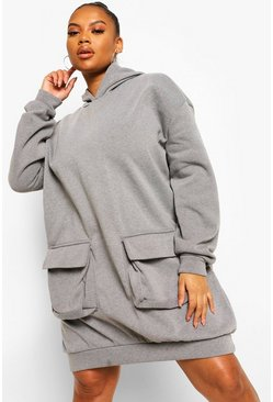 Charcoal grey Plus Acid Wash Oversized Pocket Sweat Dress