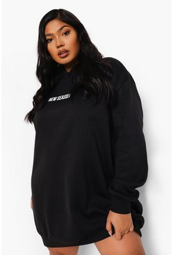 Black Plus New Season Hooded Sweat Dress