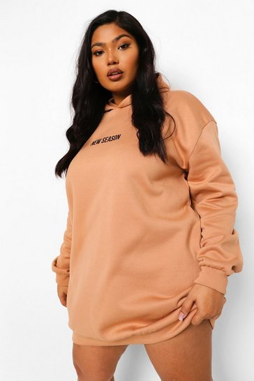 Camel beige Plus New Season Hooded Sweat Dress