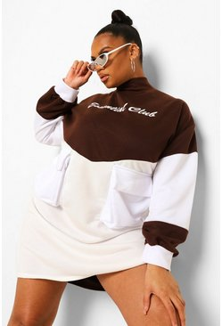 Chocolate brown Plus Essentials Colour Block Sweat Dress