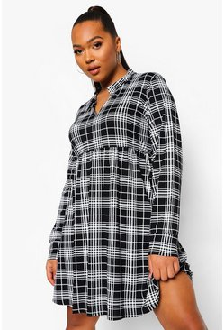 Black Plus Check Collar Smock Dress