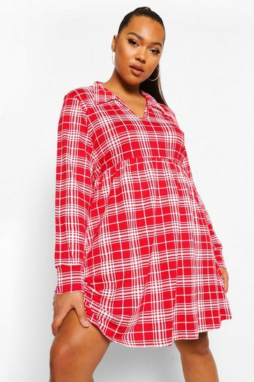 Red Plus Check Collar Smock Dress