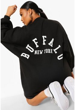 Black Plus Buffalo Slogan Sweat Dress