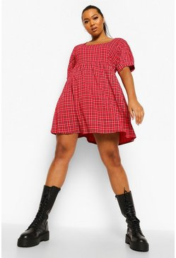 Red Plus Check Square Neck Smock Dress