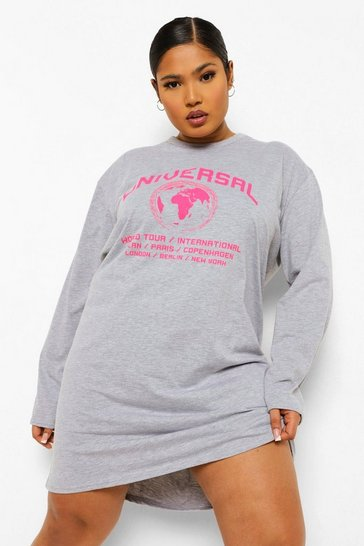 Grey Plus Worldwide T-shirt Dress