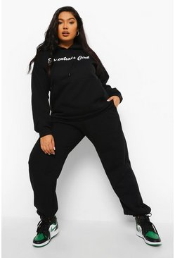 Black Plus Essentials Hoodie & Jogger Set