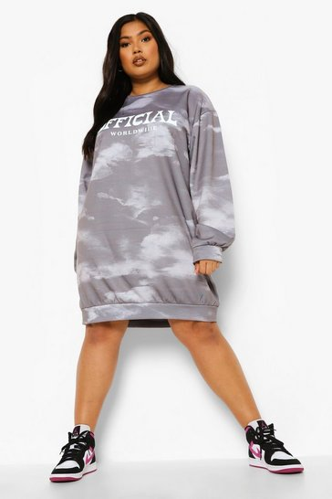 Charcoal grey Plus Worldwide Acid Wash Sweat Dress