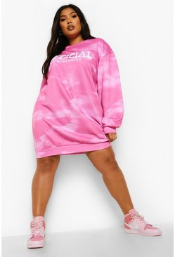 Pink Plus Worldwide Acid Wash Sweat Dress