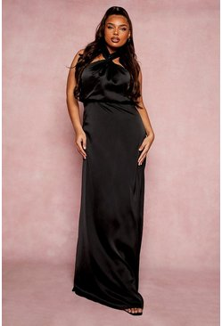 Black Plus Occasion Halter Neck Maxi Dress