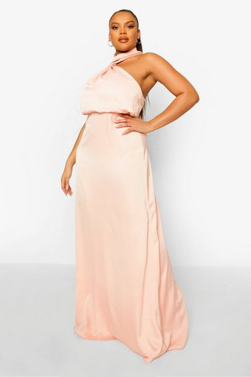 Blush pink Plus Occasion Halter Neck Maxi Dress