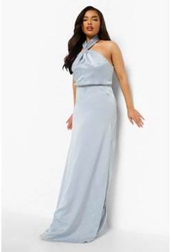 Pastel blue blue Plus Occasion Halter Neck Maxi Dress