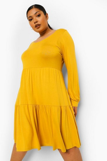 Chartreuse yellow Plus Tiered Jersey Smock Dress