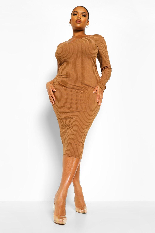 Plus Jumbo Rib Neckline Midi Dress 8