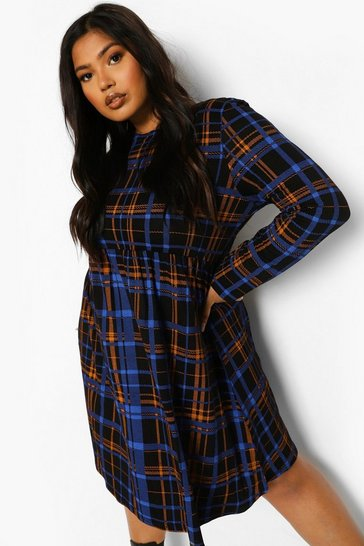 Navy Plus Check Smock Dress