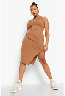 Cumin brown Plus Racer Neck Jumbo Rib Midi Dress