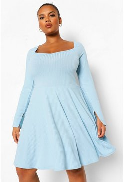 Plus Jumbo Rib Square Neck Skater Dress, Baby blue blau