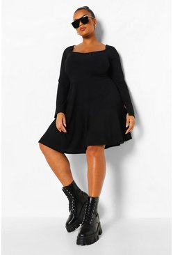 Black Plus Jumbo Rib Square Neck Skater Dress