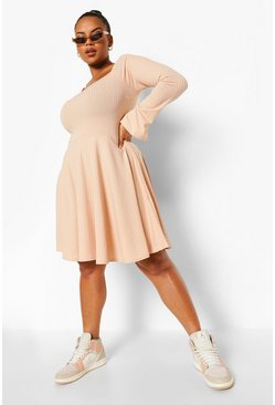 Stone beige Plus Jumbo Rib Square Neck Skater Dress
