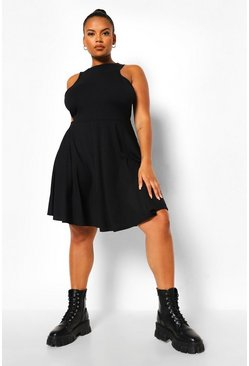 Black Plus Jumbo Rib Racer Neck Skater Dress