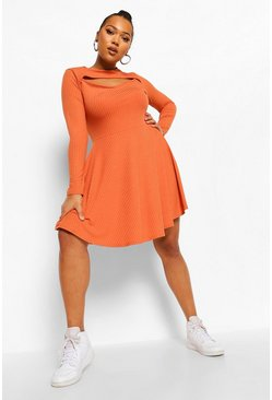 Tan brown Plus Jumbo Rib Cut Out Skater Dress