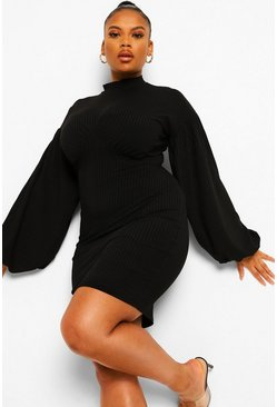 Black Plus Jumbo Rib Blouson Sleeve Bodycon