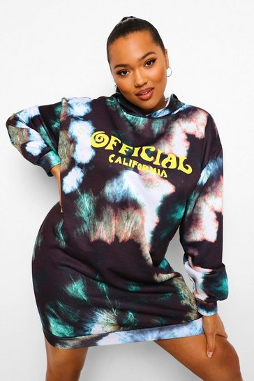 Black Plus Slogan Tie Dye Hooded Sweat Dress