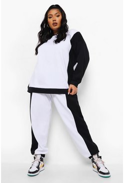 Black Plus Colour Block Oversized Tracksuit