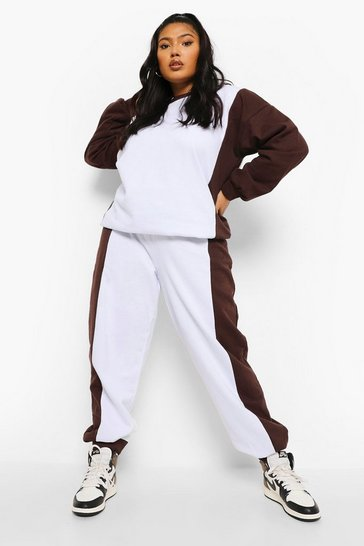 Chocolate brown Plus Colour Block Oversized Tracksuit