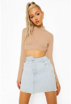 Light blue blue Petite Asymmetric Waistband Denim Skirt