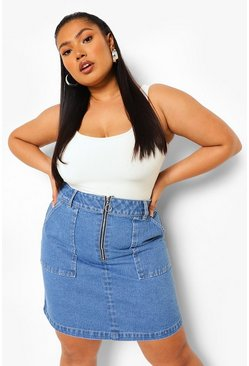 Mid blue blue Plus Zip Pocket Denim Mini Skirt