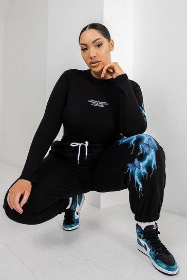 Black Plus Lightening Print Bodysuit & Jogger Set