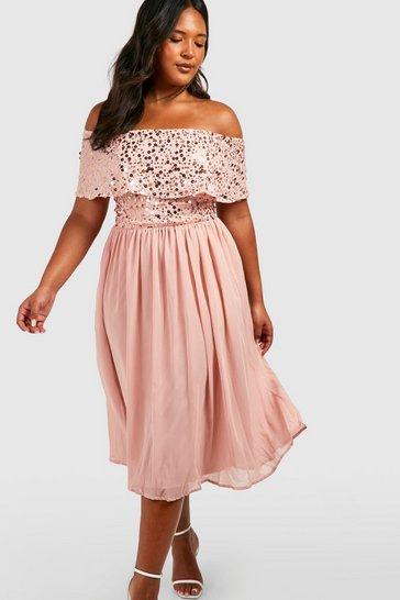 Blush pink Plus Occasion Sequin Bardot Midi Dress