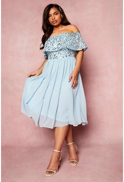 Pastel blue blue Plus Occasion Sequin Bardot Midi Dress