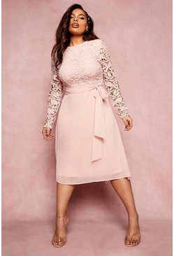 Blush pink Plus Occasion Lace Contrast Midi Dress