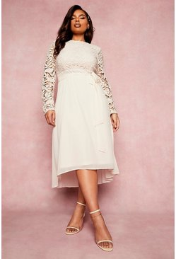 Cream white Plus Occasion Lace Contrast Midi Dress