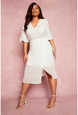 Cream white Plus Occasion Sequin Angel Sleeve Midi Dress