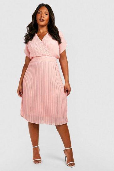 Blush pink Plus Occasion Pleated Wrap Midi Dress