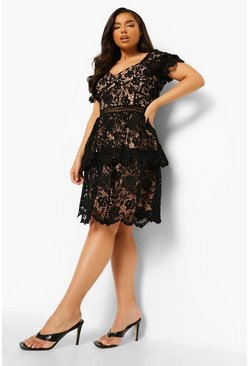 Black Plus Premium Lace Tiered Skater Dress